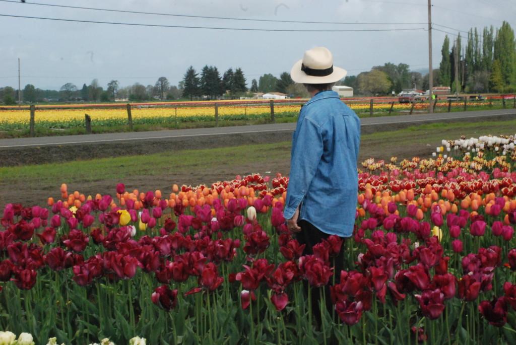 Gail at Holland America Bulb Farm in April